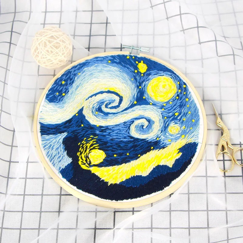 Starry night embroidery